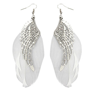 Women's Angel Wings Feather Dangle Earring Hook Chandelier Drop Long Earrings  7DGX