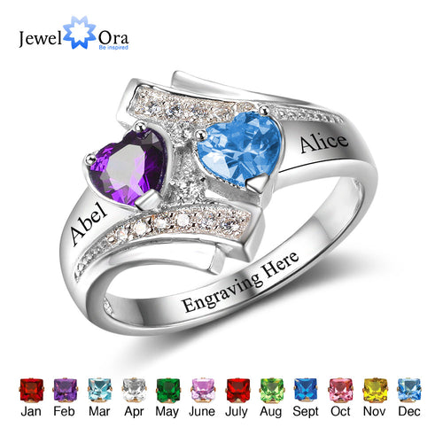 Engagement Promise Ring Custom Birthstone Engrave Name Ring 925 Sterling Silver Heart