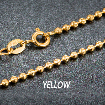 18k Pure Gold Beads Necklace Rose, White or Yellow Chain Real Au750 - Rocky Mt. Outlet Inc - Shop & Save 24/7