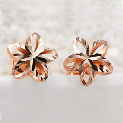 18k Gold Genuine Delicate Flower Pure Wedding Earring Hollow Design Fine Jewelry - Rocky Mt. Outlet Inc - Shop & Save 24/7