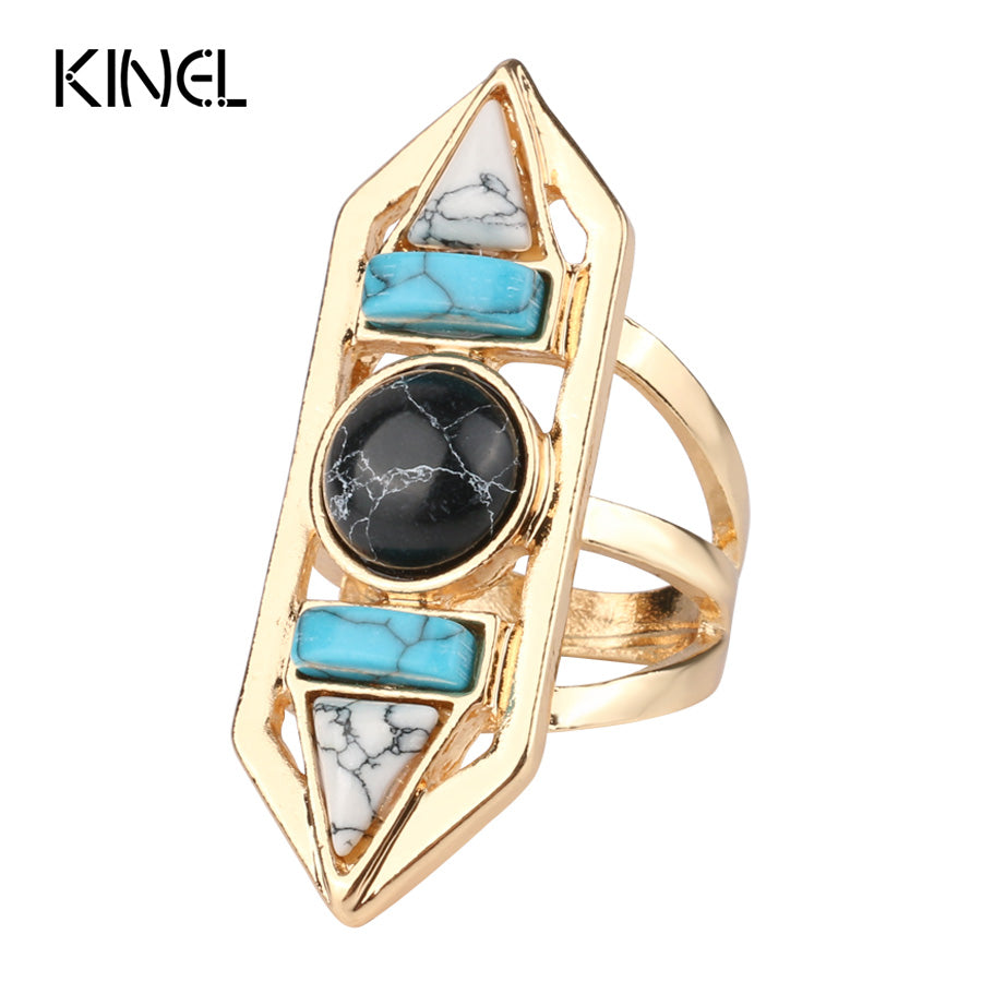 Kinel Bohemian Gold Color Natural Stone Vintage Ring - Rocky Mt. Outlet Inc - Shop & Save 24/7