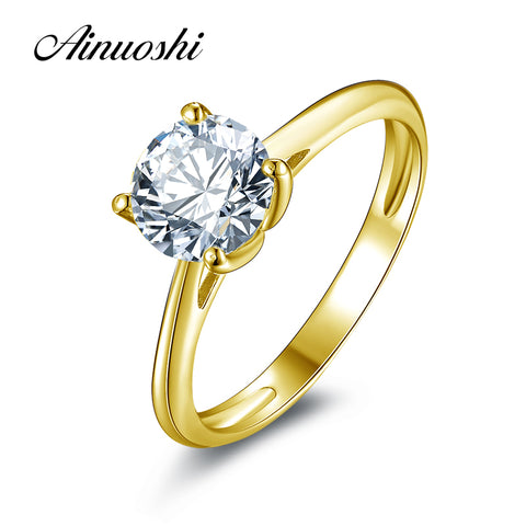 AINUOSHI 10k Solid Yellow Gold Wedding Ring 1.25 ct Solitaire Simulated Diamond Anelli Donna Brilliant Proposal Rings for Women - Rocky Mt. Outlet Inc - Shop & Save 24/7