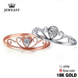18k Rose Gold Natural Rings For Women Girl Miss Fine Jewelry Crown Ring White Engagement Trendy Wedding Party New Good - Rocky Mt. Outlet Inc - Shop & Save 24/7