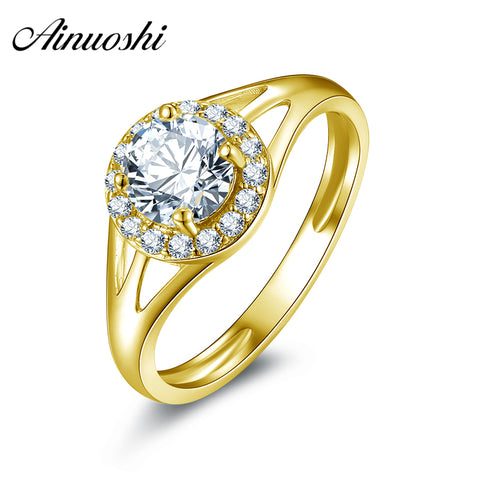 AINUOSHI 10K Solid Yellow Gold Engagement Ring 0.8 ct Round Cut Simulated Diamond Fine Jewelry Anillos Mujer Women Wedding Rings - Rocky Mt. Outlet Inc - Shop & Save 24/7