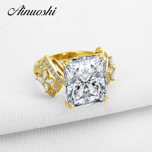 AINUOSHI 10K Solid Yellow Gold Wedding Ring Rectangle Cut Simulated Diamond Jewelry Luxury Design 6 Carat Women Engagement Rings - Rocky Mt. Outlet Inc - Shop & Save 24/7
