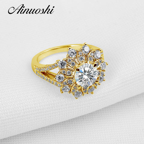 AINUOSHI 10K Solid Yellow Gold Wedding Ring 1.25 CT Lab Grown Diamond Shinning Art Deco Party Rings Trendy Fine Jewelry Design - Rocky Mt. Outlet Inc - Shop & Save 24/7