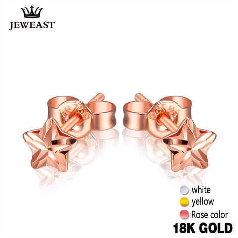18k Pure Gold Earrings White Rose Star Fine Jewelry Genuine Real 750 Solid 2017 Hot Selling Women Girl Gift Trendy Party Good - Rocky Mt. Outlet Inc - Shop & Save 24/7