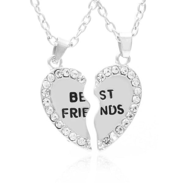 Best Friends Necklaces Lovely Rhinestone Heart Pendant Necklace - Rocky Mt. Discount Outlet