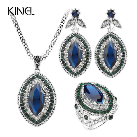 Kinel Luxury 3Pcs Vintage Wedding Jewelry Sets Fashion Silver Color Big Blue Crystals - Rocky Mt. Outlet Inc - Shop & Save 24/7