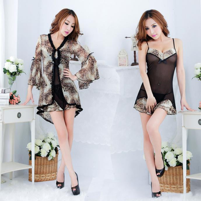 Perspective gauze sexy chiffon pajamas suits Lingerie wild leopard women - Rocky Mt. Outlet Inc - Shop & Save 24/7