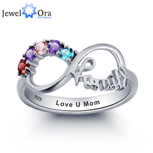Personalized Engrave Birthstone Infinity Family Jewelry Cubic Zirconia 925 Sterling Silver Ring