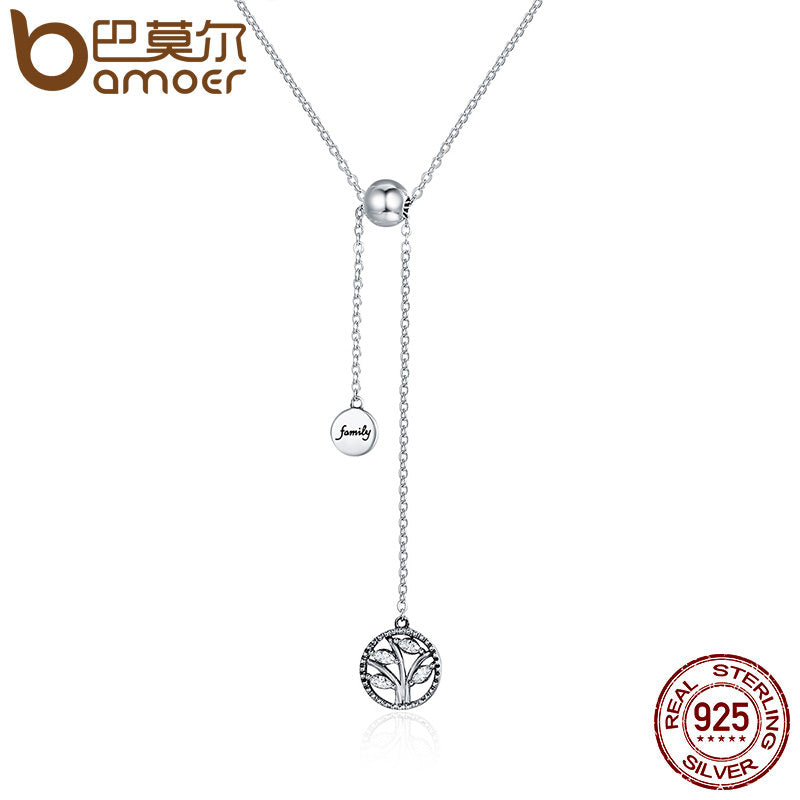 BAMOER Genuine 925 Sterling Silver Tree of Life & House Letter Link Chain Necklaces & Pendants Authentic Silver Jewelry SCN106 - Rocky Mt. Outlet Inc - Shop & Save 24/7