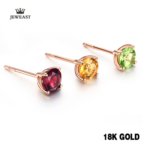 18k Pure Gold Citrine Garnet Opaz Olivine Amethy Earring Fashion Beautiful Natural Classic Elegant Real 750 Solid Party Women - Rocky Mt. Outlet Inc - Shop & Save 24/7