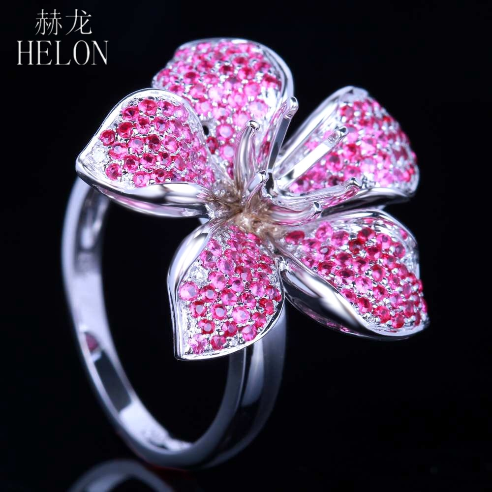 HELON 6mm Round Solid 10K White Gold Flower Shape Semi Mount 1.3CT Natrual Ruby & Diamonds