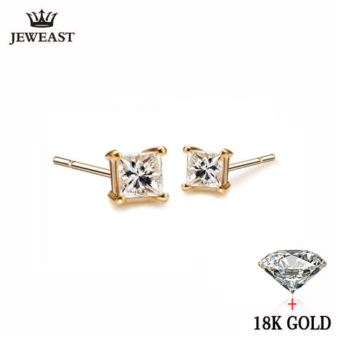 b669393b0 18k Pure Gold White Yellow Natural Stud Earrings Classic Elegant Simple  Noble Wedding Jewelry Gift Hot