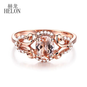 HELON Gemstone Oval 7X5mm Morganite Natural Diamond Jewelry Fine Ring Solid 10K Rose Gold Halo Unique Fine Diamond Gemstone Ring