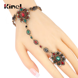 Kinel Unique Vintage Bracelet Link Ring Turkish Jewelry Set Antique Gold Crystal Flower - Rocky Mt. Outlet Inc - Shop & Save 24/7