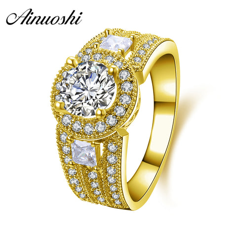 AINUOSHI 10K Solid Yellow Gold Wedding Ring 3 Row Drill 1 Carat Round Cut Sona Simulated Diamond Halo Women Engagement Band Ring - Rocky Mt. Outlet Inc - Shop & Save 24/7