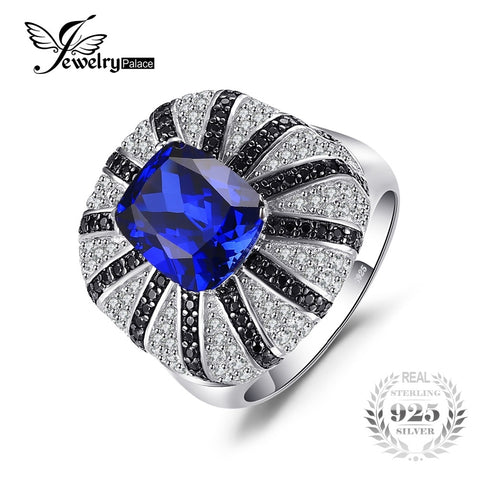 JewelryPalace Luxury 3.9ct Created Sapphire Natural Black Spinel Cocktail Ring Solid 925 Silver Jewelry