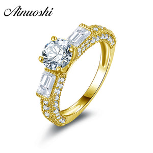 AINUOSHI 10k Solid Yellow Gold Wedding Ring Round Cut Design 1 ct Engagement Anelli Simulated Diamond Women Rings Fine Jewelry - Rocky Mt. Outlet Inc - Shop & Save 24/7