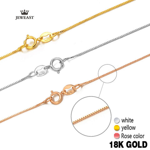 18k Pure Gold Necklace Rose, White or Yellow Gold Genuine Fine Simple Slim Thin Chains - Rocky Mt. Outlet Inc - Shop & Save 24/7