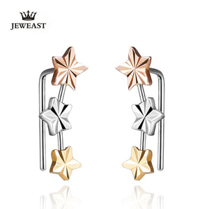 18k Gold Stud Earring Yellow/white/rose For Women Girl Star Earrings Row Party Fashion Design Genuine Jewelry 2017 New Trendy - Rocky Mt. Outlet Inc - Shop & Save 24/7