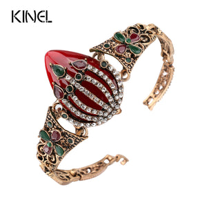 Kinel Vintage  Big, Bold Multi Color Ancient Gold Mosaic White Crystal Turkish Bracelet - Rocky Mt. Outlet Inc - Shop & Save 24/7