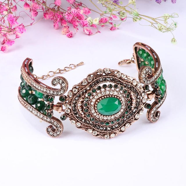 Kinel Luxury Vintage Big Green Natural Stone Crystal Beads Bangle Antique Gold Turkey Jewelry - Rocky Mt. Outlet Inc - Shop & Save 24/7