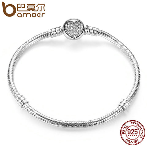 BAMOER Authentic 100% 925 Sterling Silver Classic Snake Chain Bangle & Bracelet for Women Sterling Silver Jewelry PAS916 - Rocky Mt. Outlet Inc - Shop & Save 24/7