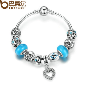 BAMOER Blue European Beads Silver Color Strand Bangle with Heart Pendant Charms Bracelet