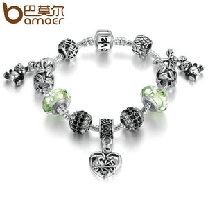 BAMOER Silver Color Green European Glass Beads Panda Pendant Love Clasp Charms Bracelets