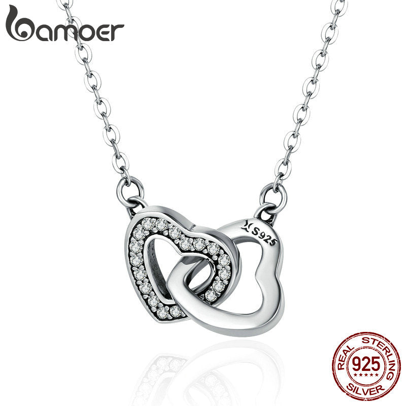 BAMOER Valentine Day Gift 925 Sterling Silver Connected Heart Couple Heart Pendant Necklace for Girlfriend Silver Jewelry SCN181 - Rocky Mt. Outlet Inc - Shop & Save 24/7