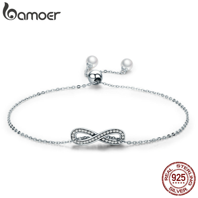 BAMOER Real 100% 925 Sterling Silver Infinity Love Chain Link Women Bracelet Sterling Silver Jewelry Valentine Day Gift SCB056 - Rocky Mt. Outlet Inc - Shop & Save 24/7