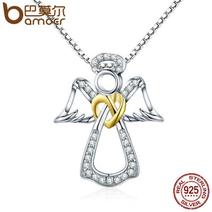 BAMOER Authentic 925 Sterling Silver Guardian Angel Heart Pendant Necklaces Dazzling CZ Luxury Sterling Silver Jewelry SCN123 - Rocky Mt. Outlet Inc - Shop & Save 24/7
