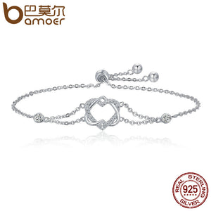 BAMOER Genuine 925 Sterling Silver Twisted Double Heart in Heart Chain Bracelet