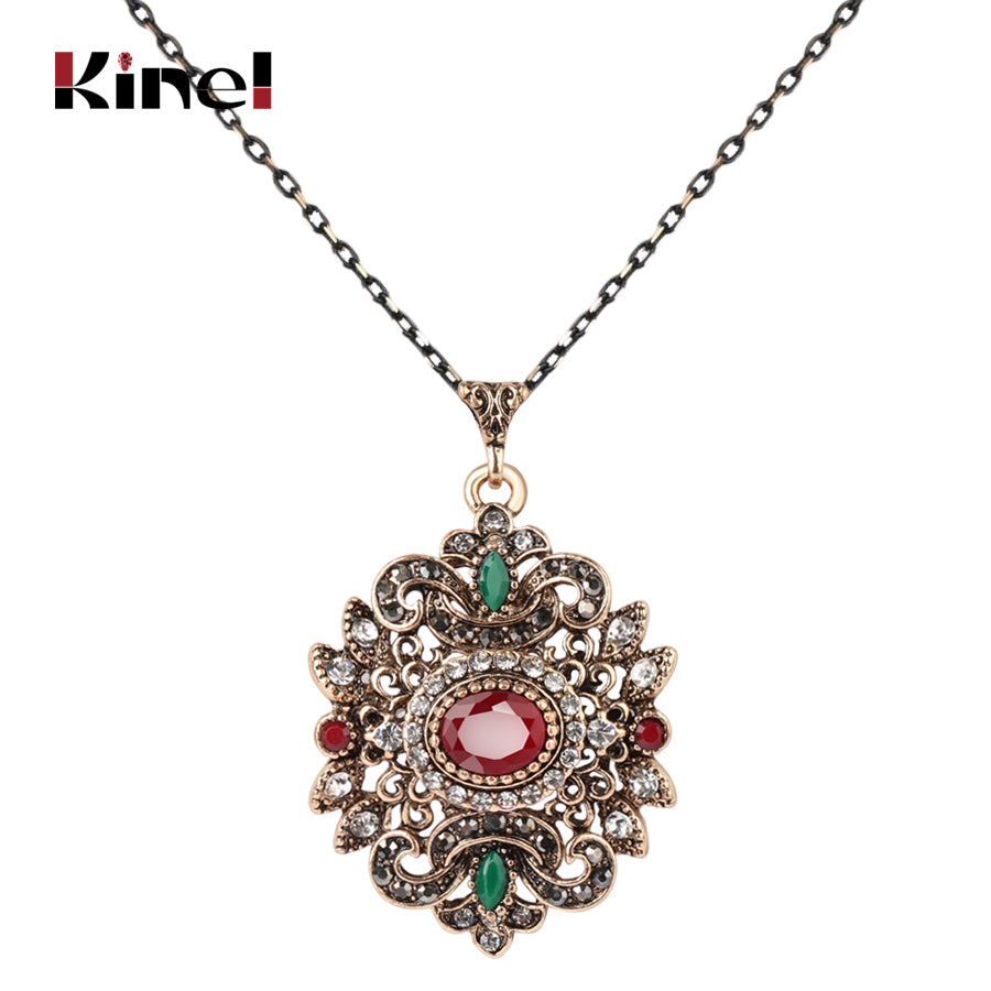 Kinel Vintage Ethnic Pendant Necklace Ancient Gold Color Geometric Crystal Multi Stone - Rocky Mt. Outlet Inc - Shop & Save 24/7