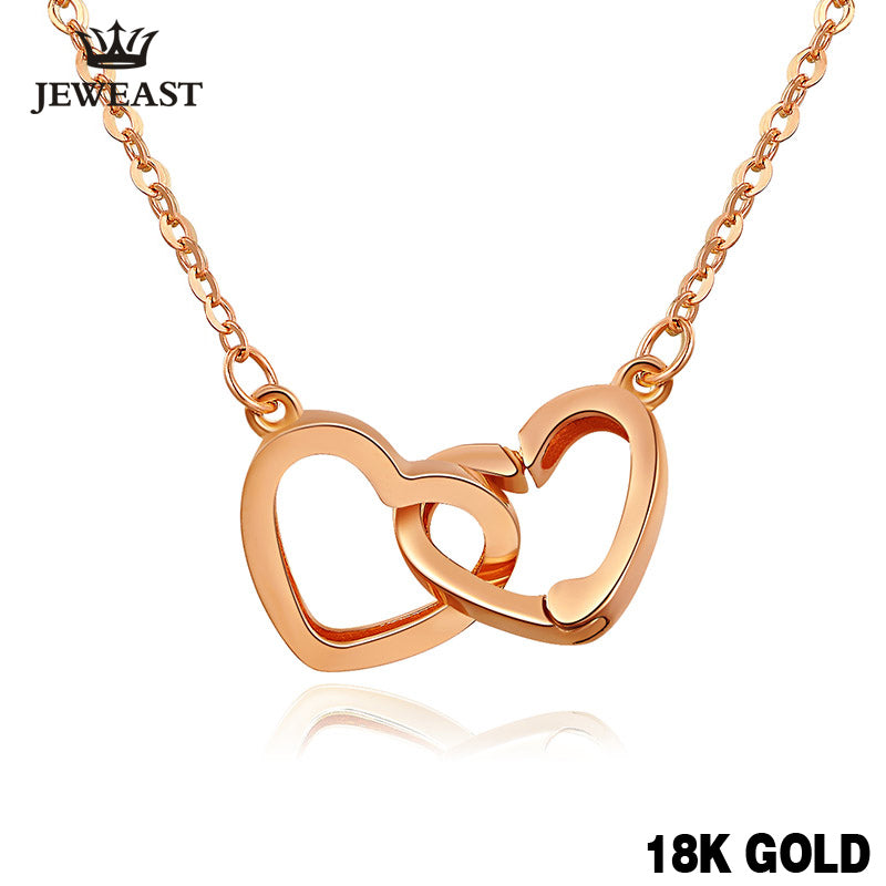 Pure 18k Gold Necklace Pendant For Women Heart Charm Chain Fine Jewelry - Rocky Mt. Outlet Inc - Shop & Save 24/7