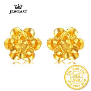 ZZZ 24kPure Gold Flower Shape Stud Earrings Exquisite Hollow Style Beautiful Highlight The Literary Style 999Solid Gold A Pair - Rocky Mt. Outlet Inc - Shop & Save 24/7
