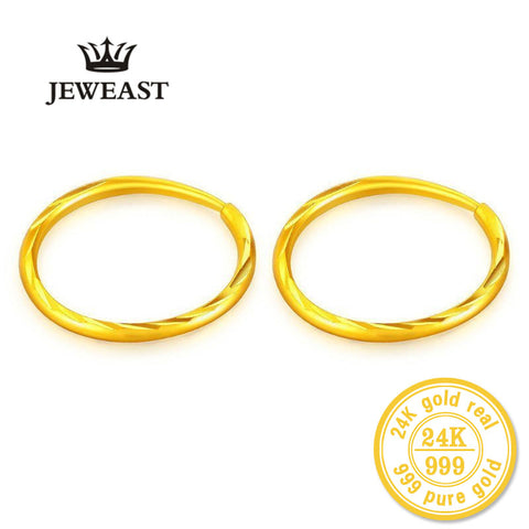 ZZZ 24k Pure Gold Hoop Earrings Classic Wild Generous Fine Round Women Female Lady Miss 2017 New Hot Sale Trendy 999 Real Gold - Rocky Mt. Outlet Inc - Shop & Save 24/7