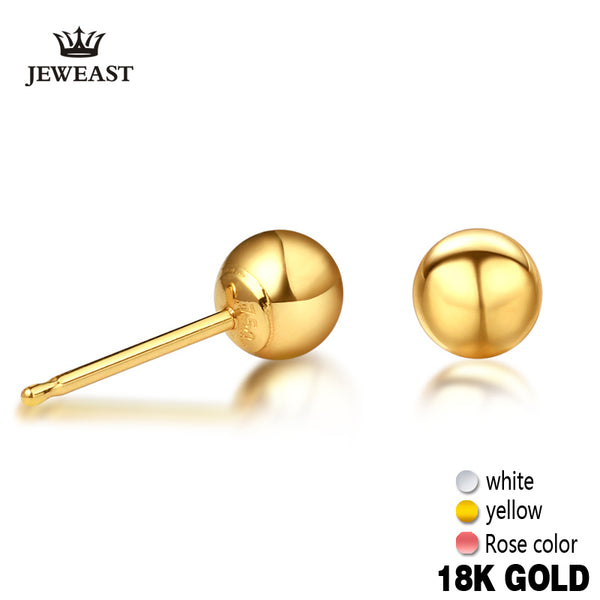 XXX 18k Pure Gold Women Men Stud Earrings Yellow White Rose Female Male Genuine Jewelry Classic Simple Ball Unisex Hot Sale - Rocky Mt. Outlet Inc - Shop & Save 24/7