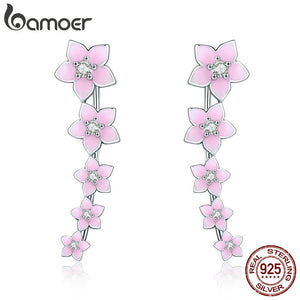 BAMOER 925 Sterling Silver Summer Cherry Flower Pink Enamel Earrings