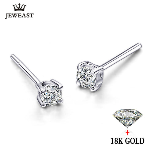 Natural daimond Earrings 18k Pure Gold Simple Exquisite Round Elegant Classic Wedding Hot Sale 2017 New Party Women Girl Gift - Rocky Mt. Outlet Inc - Shop & Save 24/7