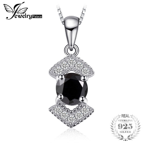 JewelryPalace  Elegant Genuine 925 Sterling Silver Black Spinel Pendant w/o chain