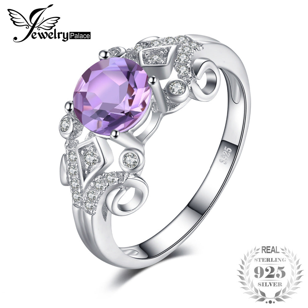 JewelryPalace Vintage Style 1ct Genuine Oval Amethys Anniversary Engagement Ring 925 Sterling Silver Jewelry for Women - Rocky Mt. Outlet Inc - Shop & Save 24/7