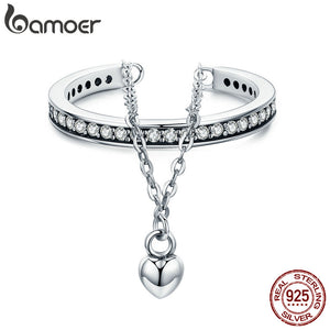 BAMOER High Quality 100% 925 Sterling Silver Stackable Clear CZ Heart Chain Double Layer Ring - Rocky Mt. Outlet Inc - Shop & Save 24/7