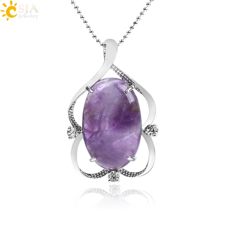 CSJA Natural Stone Pendant & Necklace Oval Flat Crystal Bead Rhinestone Hollow Pretty Charms Pendants Reiki Healthy Jewelry F261