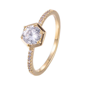 Hexagon Design Cubic Zirconia Copper Ring 18K Gold/Platinum Plated - Rocky Mt. Outlet Inc - Shop & Save 24/7