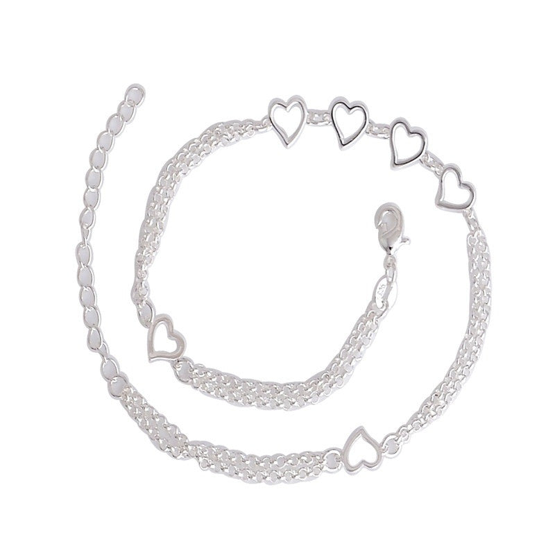 Woman 925 Silver Love Hearts Charm Anklet Ankle Foot - Rocky Mt. Outlet Inc - Shop & Save 24/7