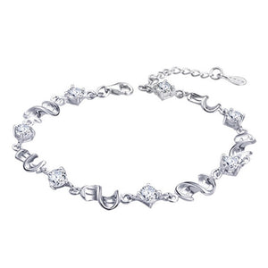 Womens 925 Sterling Silver Purple Crystal Love Chain Bracelet - Rocky Mt. Outlet Inc - Shop & Save 24/7