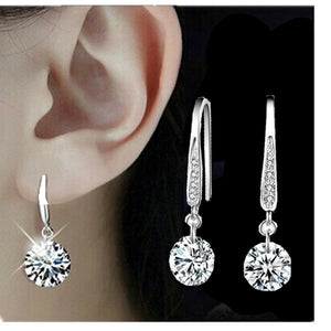 Jewelry 925 Sterling Silver Plated Crystal Hoop Dangle Earring Stud - Rocky Mt. Outlet Inc - Shop & Save 24/7